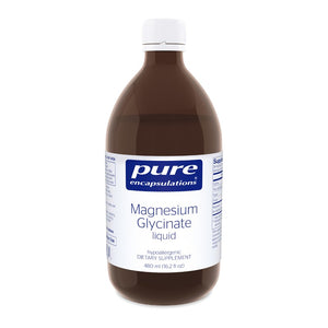 A bottle of Pure Magnesium Glycinate liquid