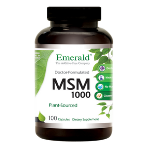 A bottle of Emerald MSM 1000 mg