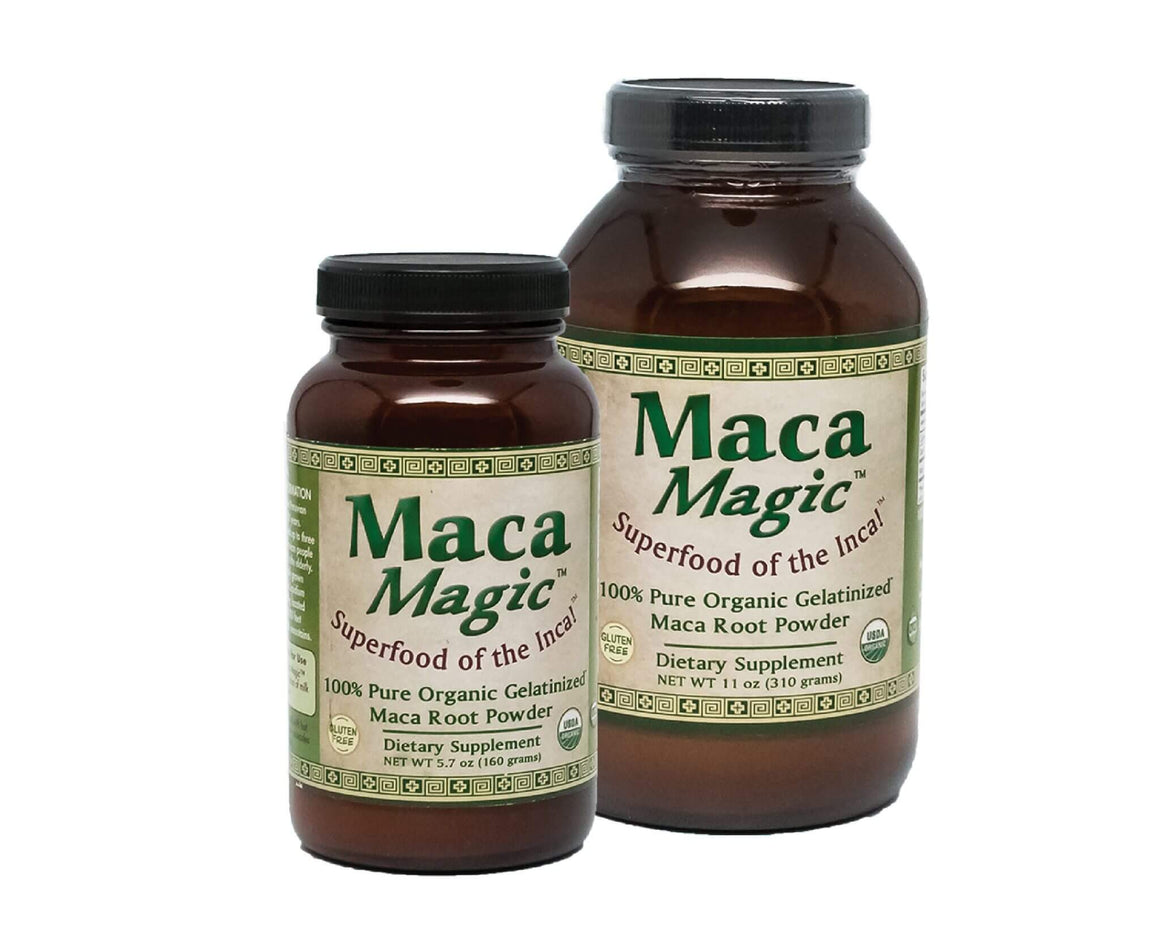 A bottle and jar of Organic Maca Magic Powder 11 oz