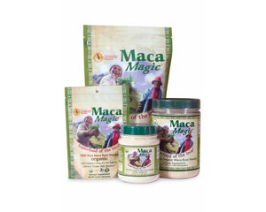 Packages and jars of Maca Magic Raw Powder Jar 1.1 lb