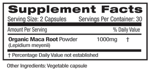 Supplement Facts for Emerald Maca Root