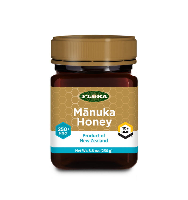 A bottle of Flora Manuka Honey MGO 250+/10+ UMF