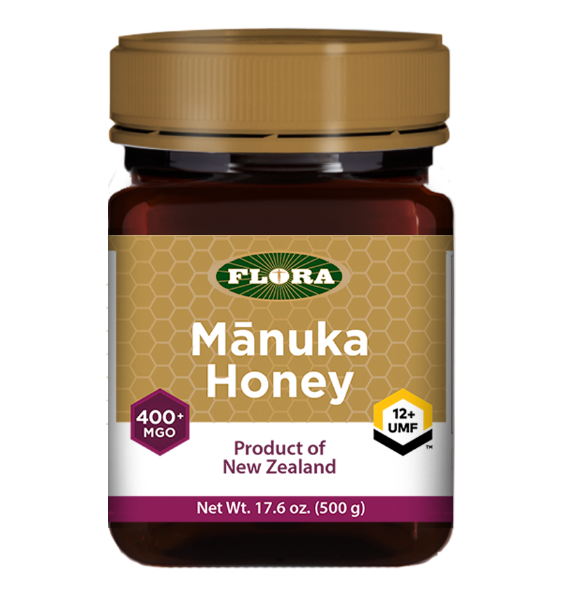 A bottle of Flora Manuka Honey MGO 400+/12+ UMF
