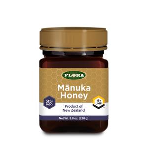A bottle of Flora Manuka Honey MGO 515+/15+ UMF