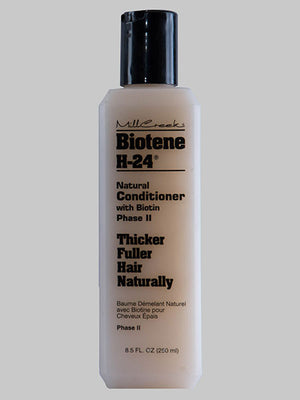 A bottle of Millcreek Botanicals Biotene H-24® Natural Conditioner