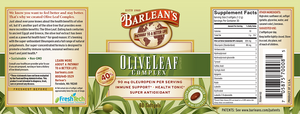 Label with additional info and supplemental facts for Barleans Olive Leaf Complex Softgels