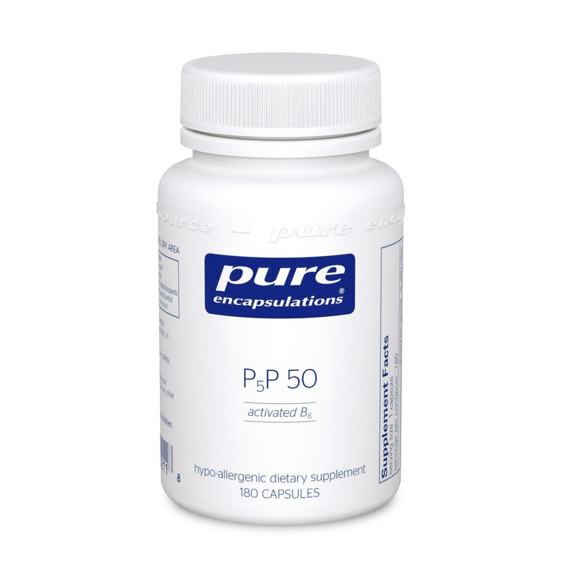 A bottle of Pure P5P 50 (activated vitamin B6)