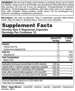 Supplement Facts for Pioneer Comprehensive Yeast Relief +