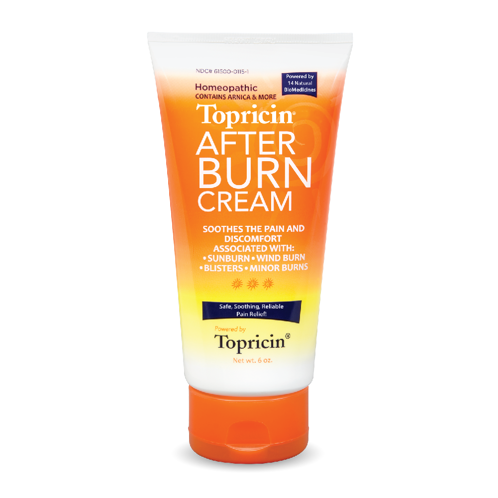 A tube of Topricin My Pain Away - After Burn Cream