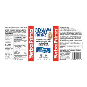 Label with supplemental facts and additional info for Yerba Prima Psyllium Husks Whole - Colon Cleanser