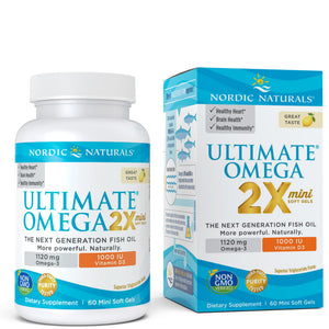 A bottle and package of Nordic Naturals Ultimate Omega 2X mini with Vitamin D3