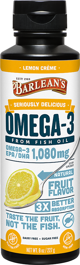 A bottle of Barleans Seriously Delicious™ Omega-3 Fish Oil Lemon Crème