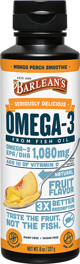 A bottle of Barleans Seriously Delicious™ Omega-3 Fish Oil Mango Peach Smoothie