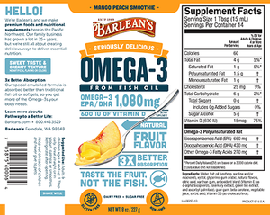 Label wth supplemental facts for Barleans Seriously Delicious™ Omega-3 Fish Oil Mango Peach Smoothie