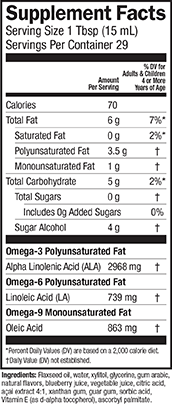 Supplement Facts for Barleans Seriously Delicious™ Omega-3 Flax Blackberry Smoothie