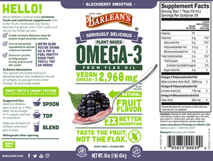 Label with supplemental facts for Barleans Seriously Delicious™ Omega-3 Flax Blackberry Smoothie