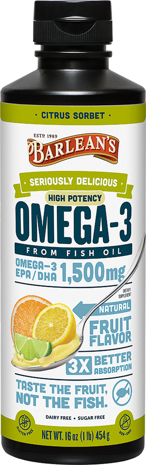 A bottle of Barleans Seriously Delicious™ Omega-3 High Potency Fish Oil Citrus Sorbet