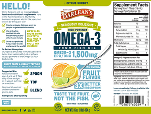 Label with supplemental facts for Barleans Seriously Delicious™ Omega-3 High Potency Fish Oil Citrus Sorbet