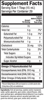 Supplement Facts for Barleans Seriously Delicious™ Omega-3 High Potency Fish Oil Key Lime Pie