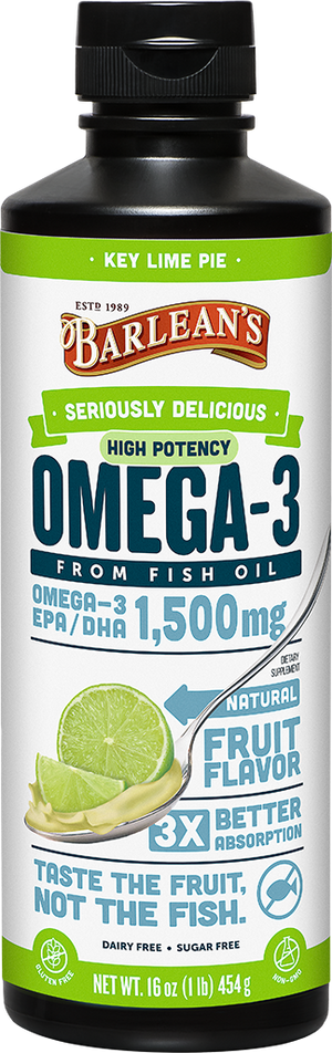 A bottle of Barleans Seriously Delicious™ Omega-3 High Potency Fish Oil Key Lime Pie