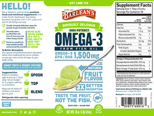 A label with supplemental facts for Barleans Seriously Delicious™ Omega-3 High Potency Fish Oil Key Lime Pie
