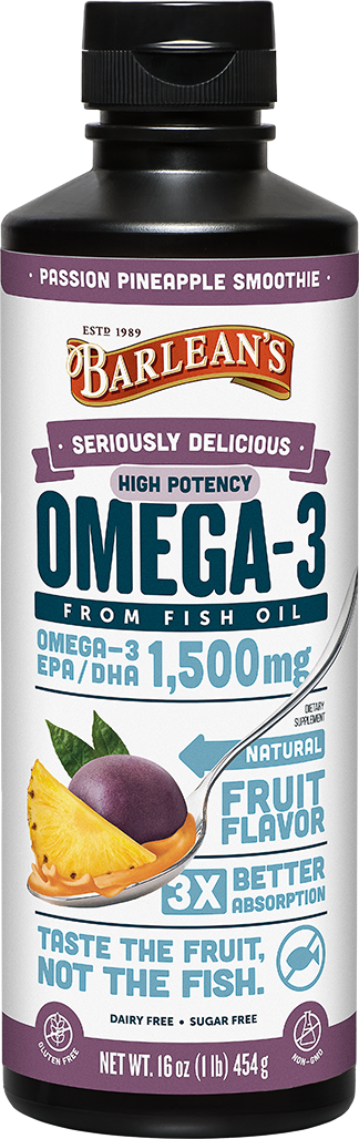 A bottle of Barleans Seriously Delicious™ Omega-3 High Potency Fish Oil Passion Pineapple Smoothie