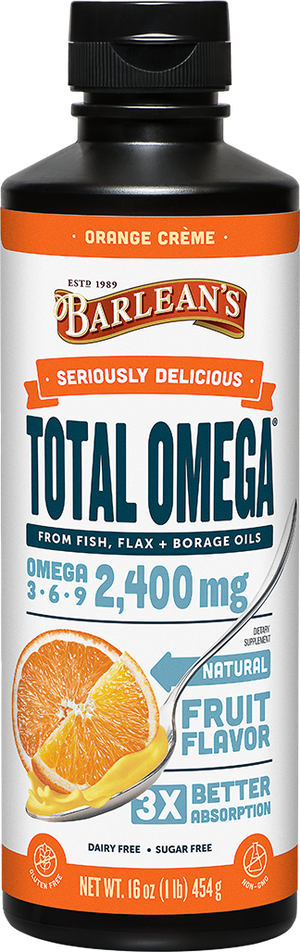 A bottle of Barleans Seriously Delicious™ Total Omega® Orange Crème