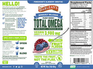Label with supplement facts for Barleans Seriously Delicious™ Total Omega® Vegan Pomegranate Blueberry Smoothie