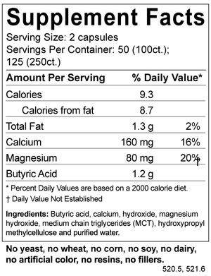 Supplement facts for Bodybio Calcium/Magnesium Butyrate
