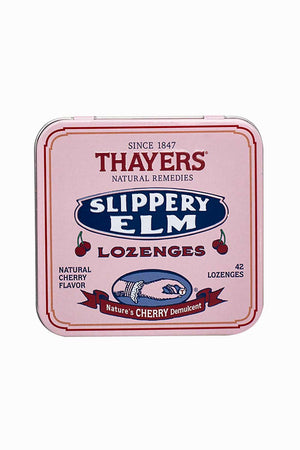 A tin of Thayers Slippery Elm Lozenges Cherry