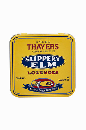 A tin of Thayers Slippery Elm Lozenges Original