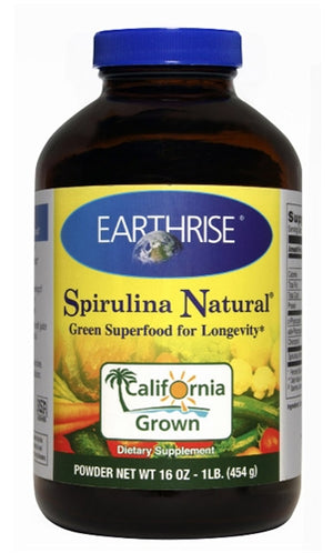 A bottle of Earthrise Spirulina Natural Powder