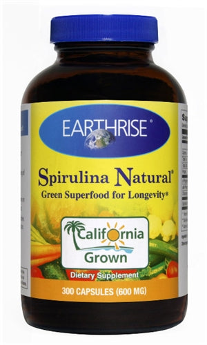 A bottle of Earth Rise Spirulina Natural 600mg
