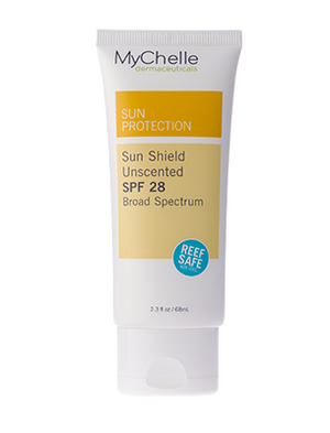A tube of MyChelle Sun Shield SPF 28 Unscented