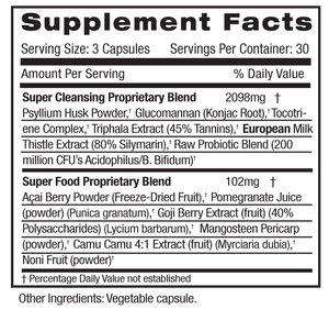 Supplement Facts for Emerald Super Cleanse