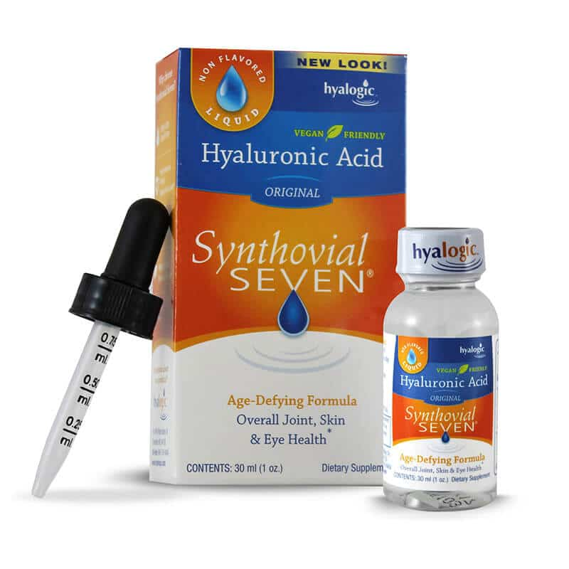 A dropper, package and bottle of Hyalogic Synthovial Seven® - Hyaluronic Acid 1 oz