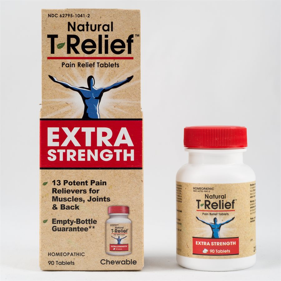 A package and bottle of MediNatura T-Relief™ Pain Relief Tablets Extra Strength