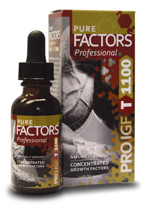 A bottle and package of Pure Solutions Pure Factors Ultimate PRO IGF T 1100