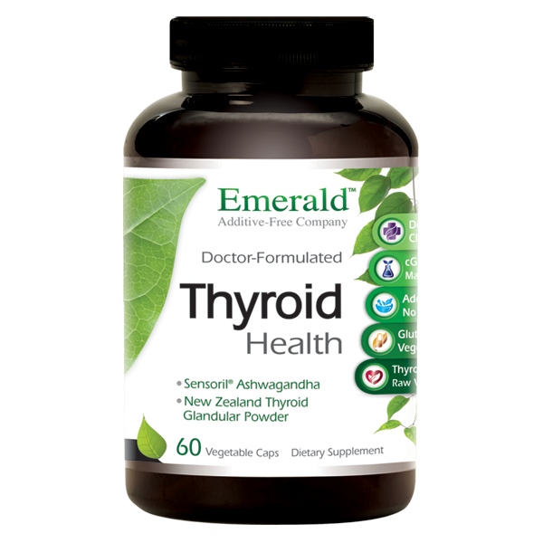 A bottle of Emerald Thyroid Health