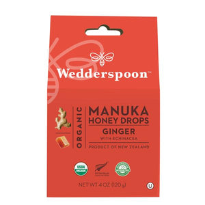 A box of Organic Manuka Honey Drops - Ginger Wedderspoon
