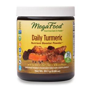 A jar of Megafood Daily Turmeric - Nutrient Booster Powder™