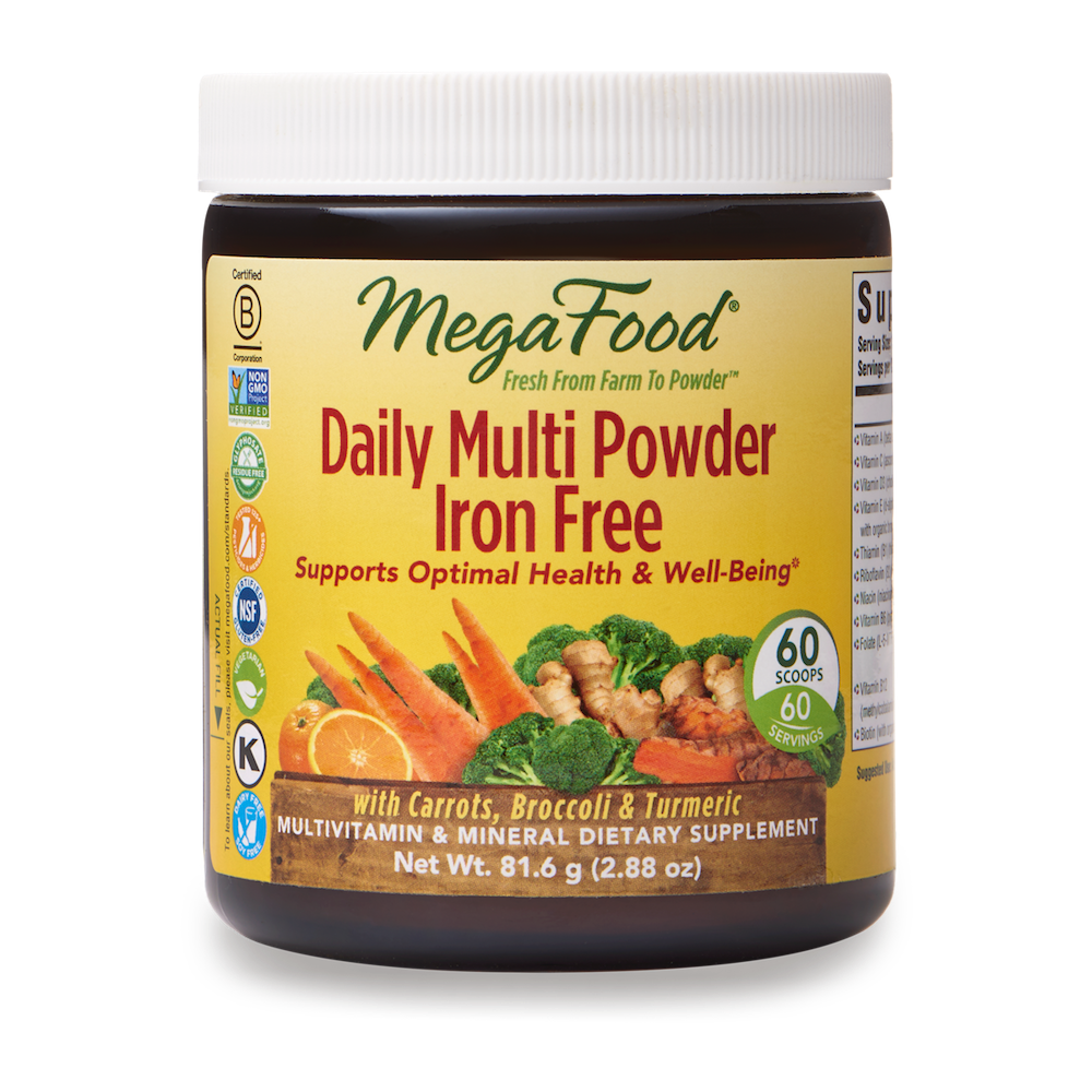 A jar of Megafood Daily Multi Powder Iron Free