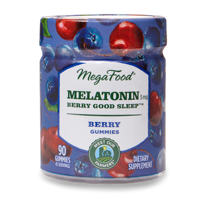 A jar of Megafood Gummy Melatonin Berry Good Sleep™- Berry Flavor