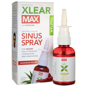 A package and bottle of Xlear MAX Saline Nasal Spray with Capsicum, 1.5 fl oz