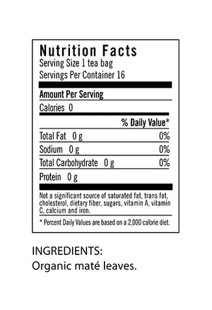 Nutrition Facts for Flora Yerba Maté Tea