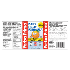 A label of additional information and supplemental facts for Yerba Prima Daily Fiber® Formula - Orange Flavor