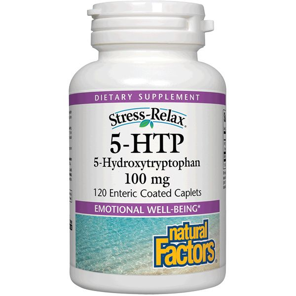 A bottle of Naturals Factors Stress-Relax® 5-HTP 100 mg
