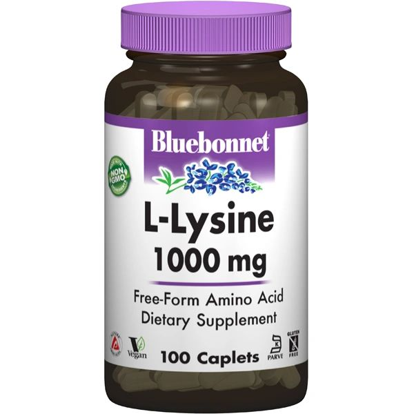 A bottle of Bluebonnet L-Lysine 1000 mg