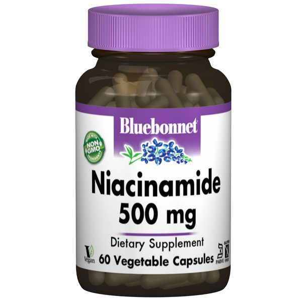 A bottle of Bluebonnet Niacinamide 500 mg