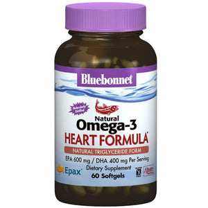 A bottle of Bluebonnet Omega-3 Heart Formula